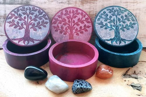 Tree Of Life Altar Box with Intuitively Chosen Crystals
