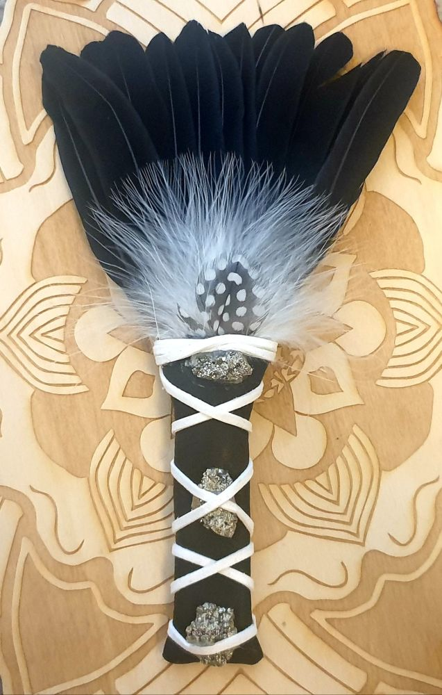 Turkey Feather, Guinea Fowl and Pyrite Smudge Fan