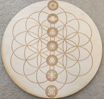 Chakra Flower Of Life Grid Base with Chakra Gemstones