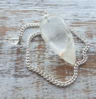 Clear Quartz with self heal, iron and chlorite Pendulum
