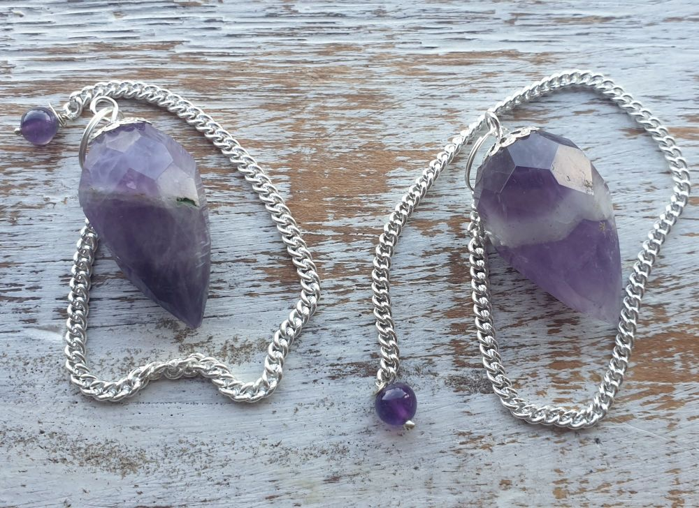 Faceted Amethyst with self heal Pendulum