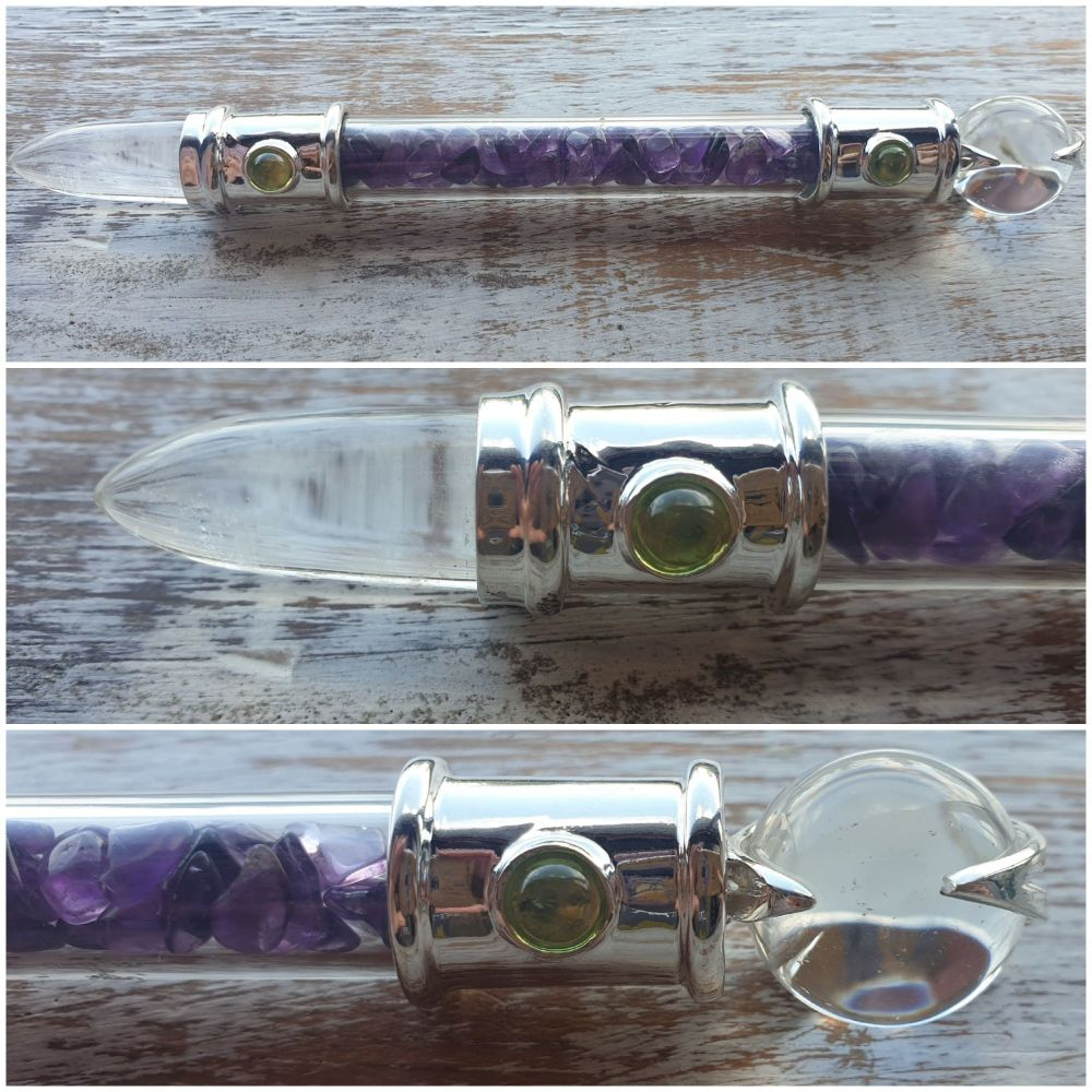 Silver Plated Amethyst, Peridot and Clear Quartz Single Terminated Wand