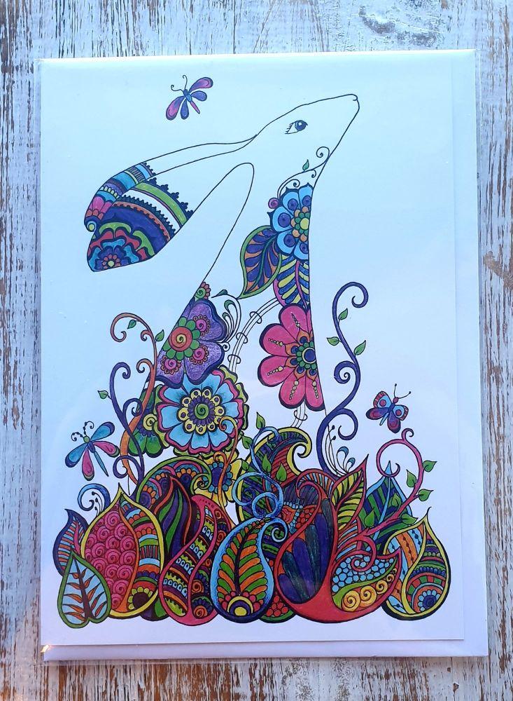 Hannaed Hare Greeting Card - Art Card