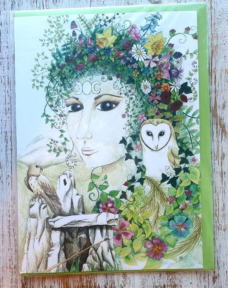 Blodeuedd Greeting Card - Art Card