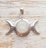 Triple Goddess Moonstone Sterling Silver Pendant
