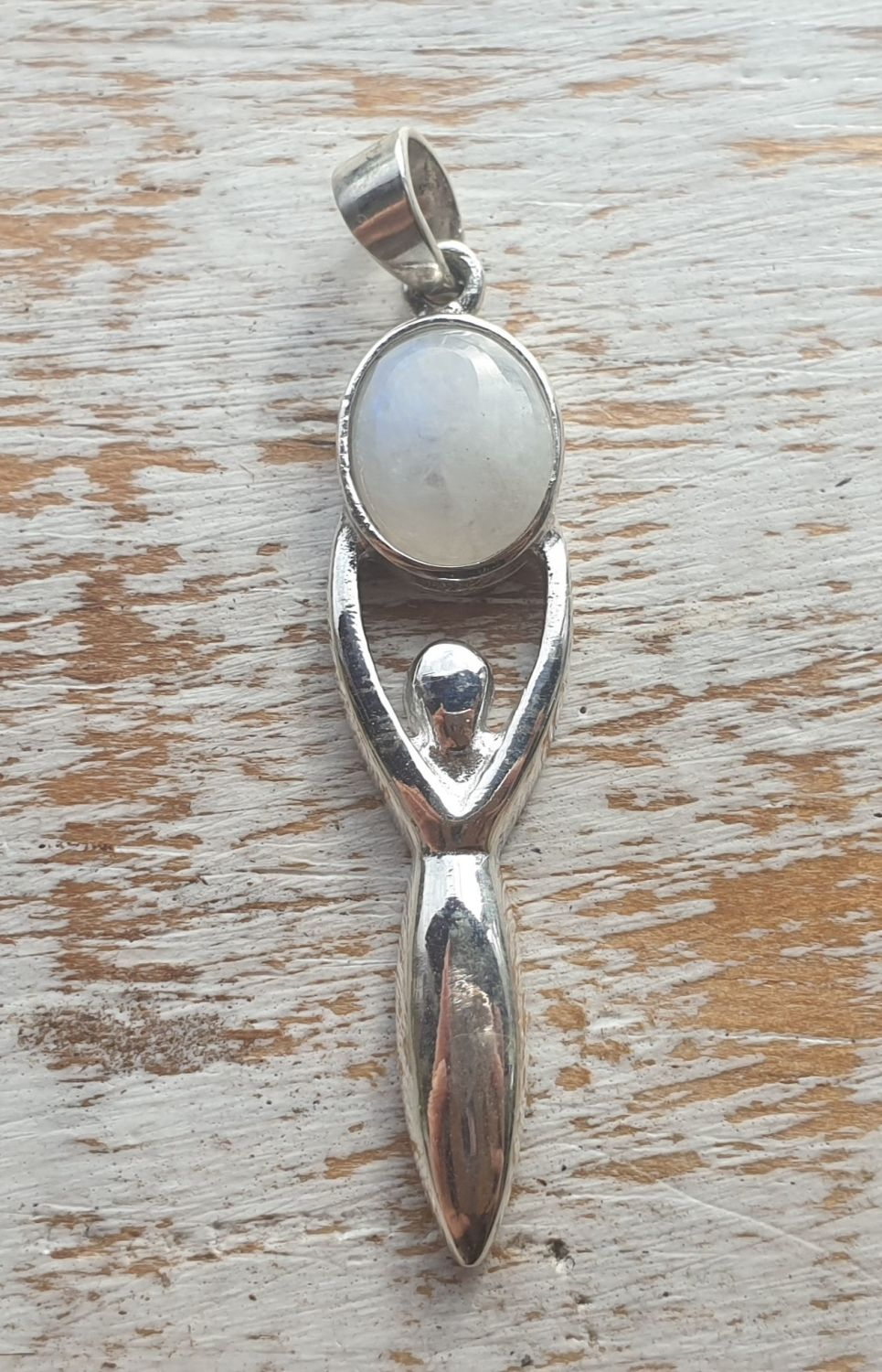 Rainbow Moonstone Goddess Sterling Silver Pendant