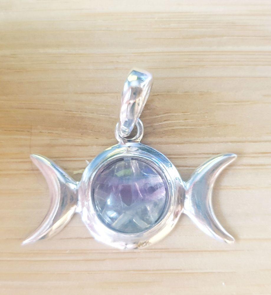 Triple Goddess Rainbow Fluorite Sterling Silver Pendant with Pentagram Back