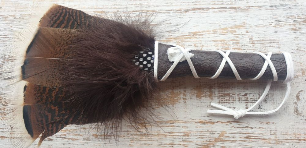 Turkey Feather, Guinea Fowl and Howlite Smudge Fan