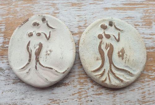Earth Goddess Holding Crescent Moon Pendant (White)