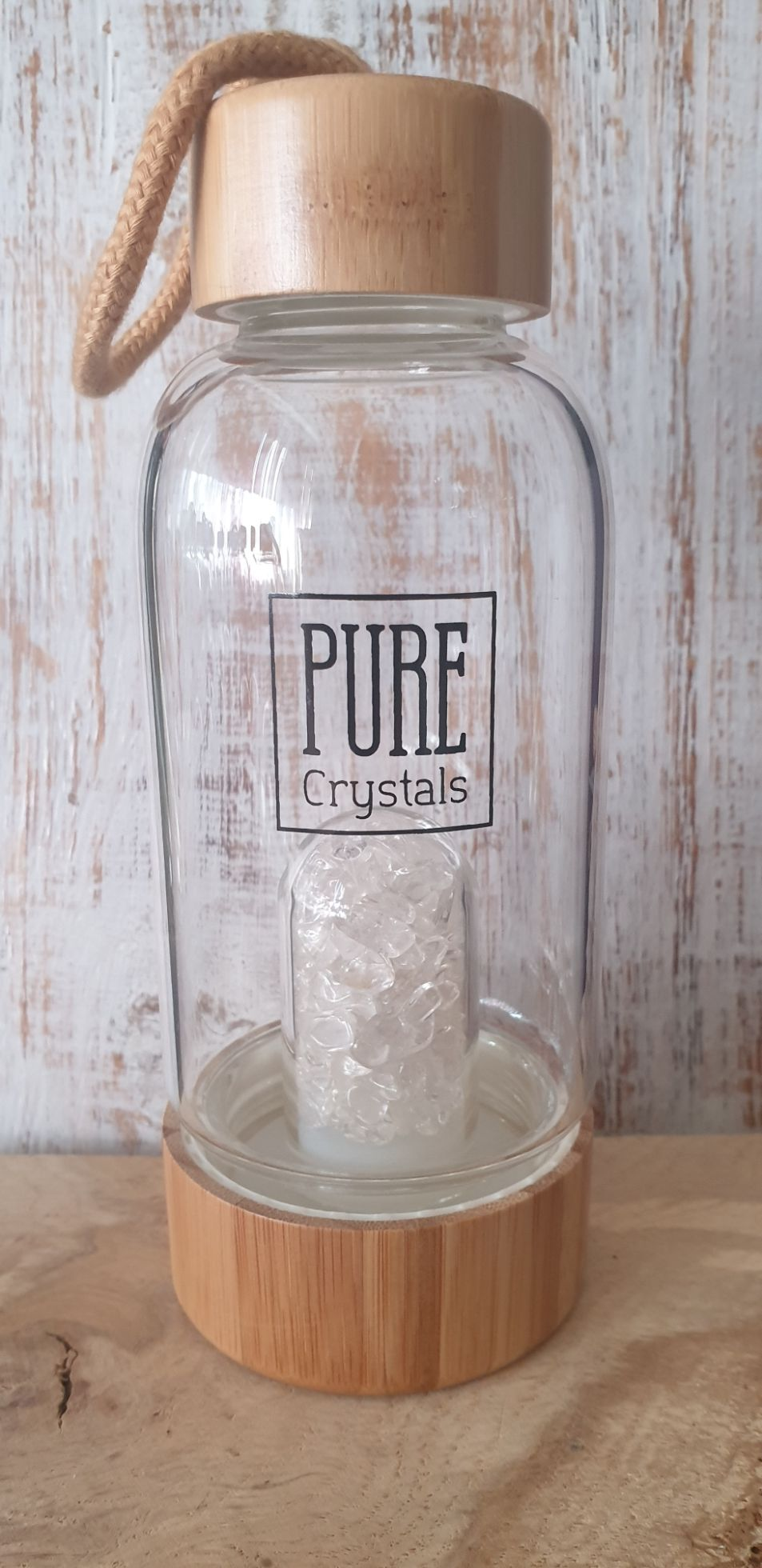 Crystal Infusion Water Bottle With Pod ~ CLEAR QUARTZ ~