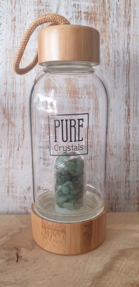 Crystal Infusion Water Bottle With Pod ~ GREEN AVENTURINE ~