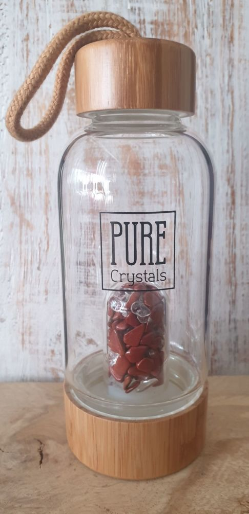 Crystal Infusion Water Bottle With Pod ~ RED JASPER ~