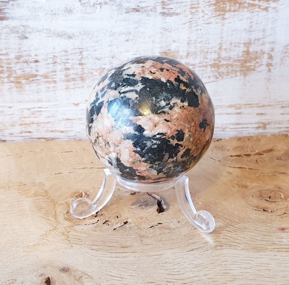 Rhodonite and Manganese Sphere (Small)