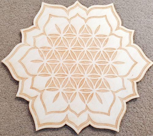 Flower Of Life Mandala Crystal Grid Board 10 inch
