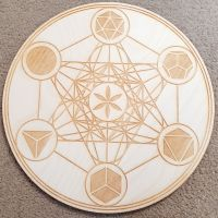 Metatrons Cube With Platonic Solids Crystal Grid Board 10 inch