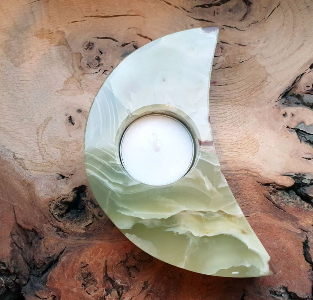 Onyx  Half Moon Tealight Holder