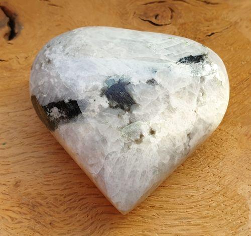Rainbow Moonstone With Black Tourmaline Heart