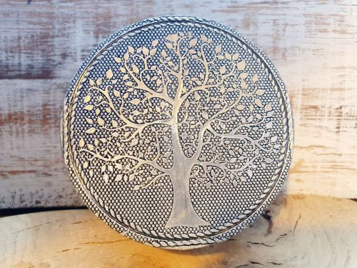 Silver Round Tree Of Life Box