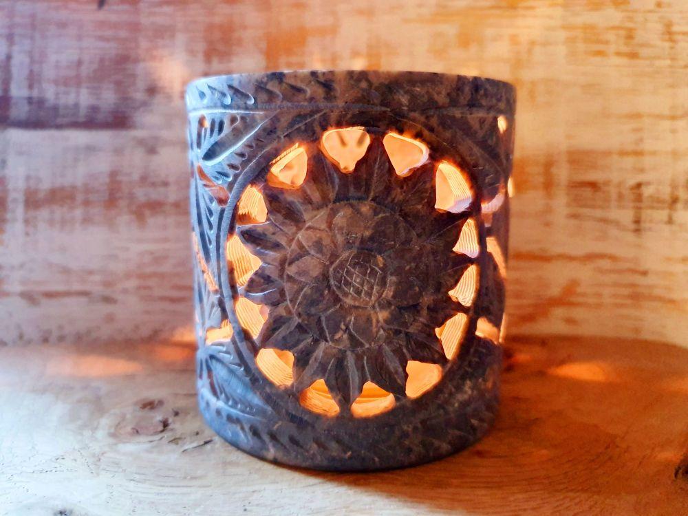 Soapstone Flower/Sun Tea Light Holders