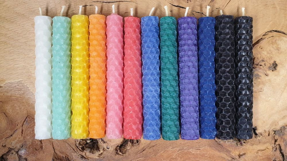 10cm Beeswax Spell Candles ~ You Choose ~ Red, Yellow, Green, Blue, Purple,