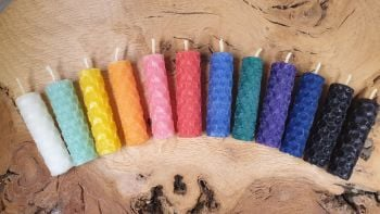 5cm Mini Beeswax Spell Candles ~ You Choose ~ Red, Yellow, Green, Blue, Purple, Pink, Black, Orange