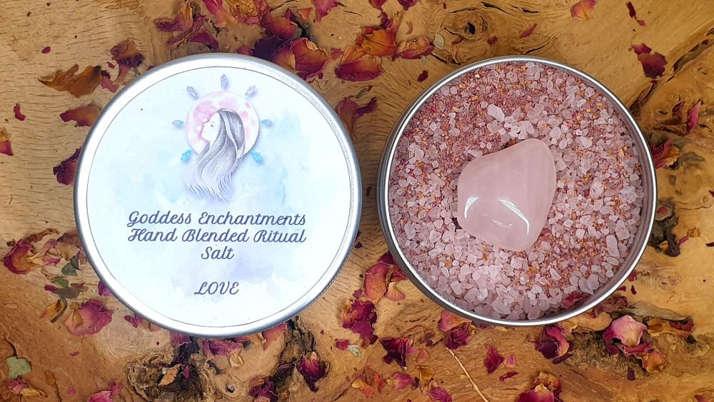 Magickal Love Salt with Rose Quartz Tumblestones