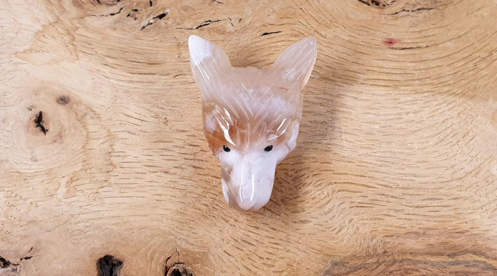 Flower Agate Hand Carved Wolf Head Bead Pendant