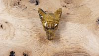 Tigers Eye Hand Carved Wolf Head Bead Pendant