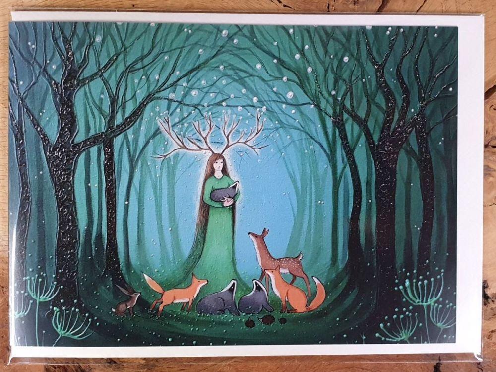 Goddess of the Green Wood Greeting Card - Art Card