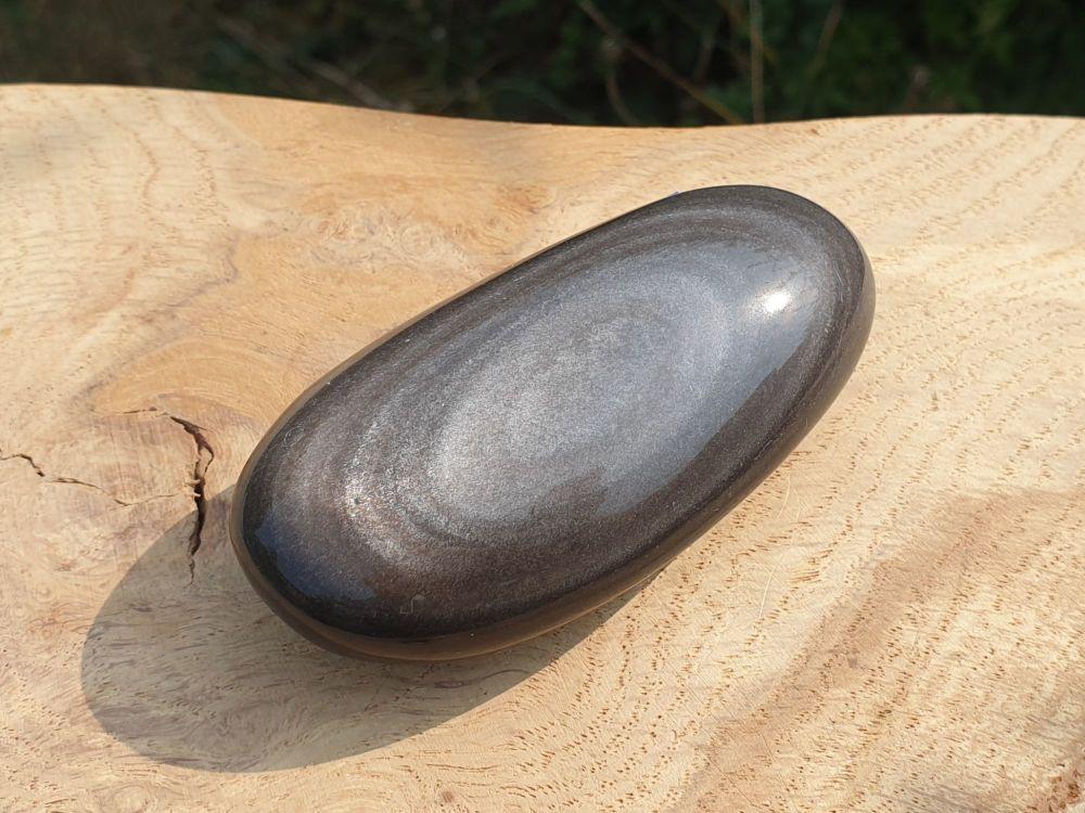 Silver Sheen Obsidian Palmstone 1