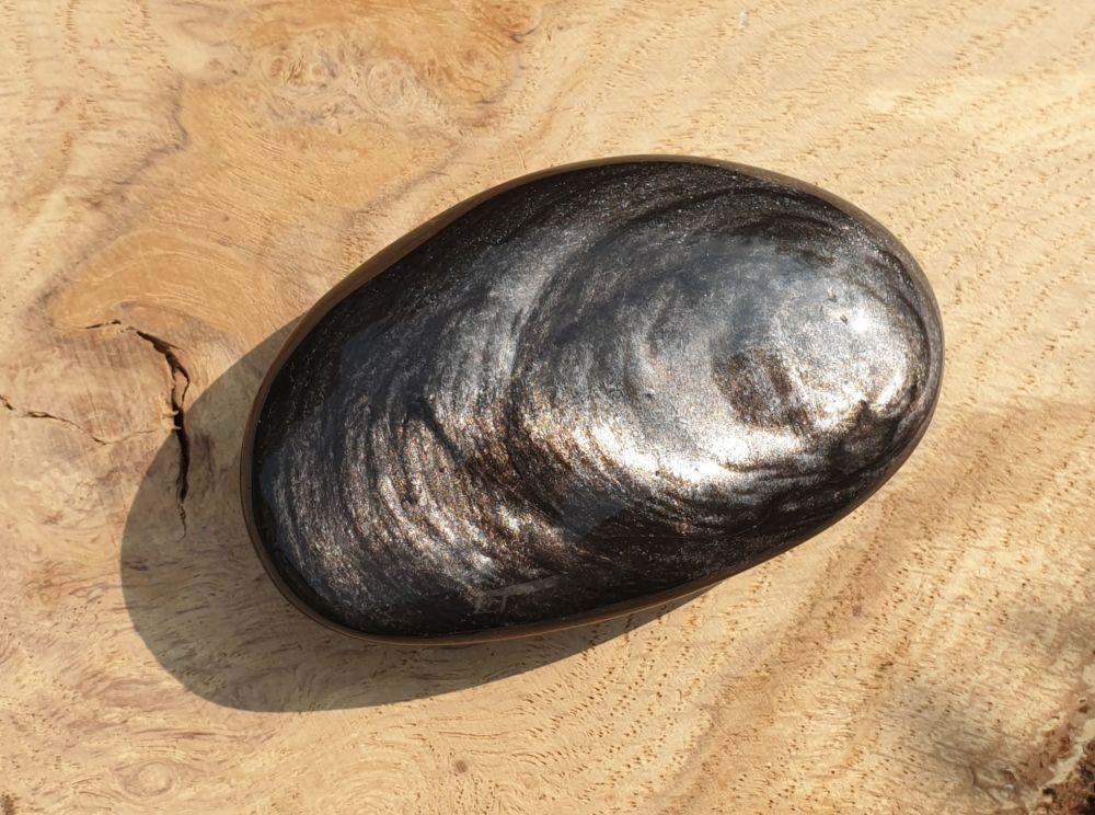 Silver Sheen Obsidian Palmstone 2
