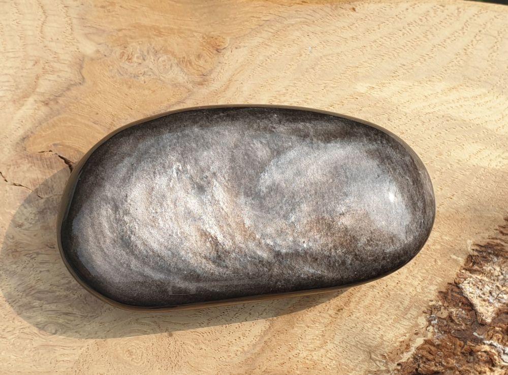 Silver Sheen Obsidian Palmstone 3