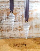 Selenite  Spiral Yule Tree Decoration - Set of 2