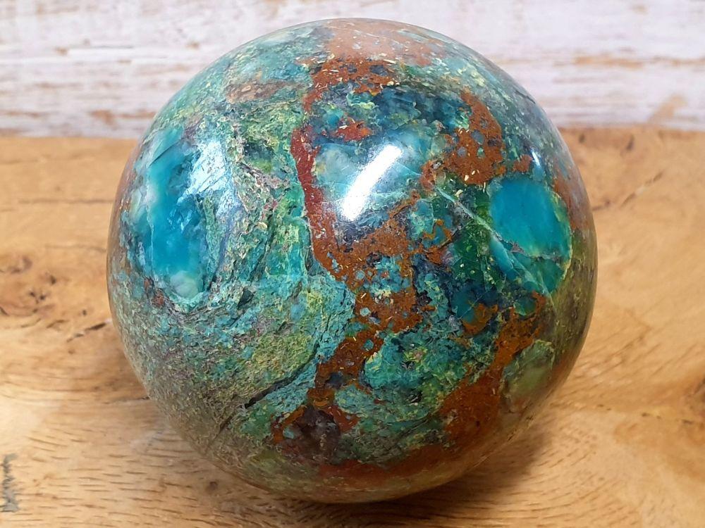 Chrysocolla and Jasper Sphere (3)
