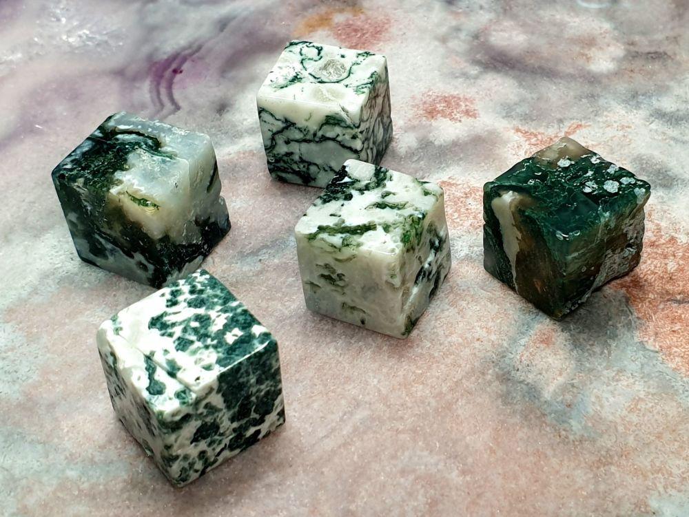 Green Moss Agate Cube