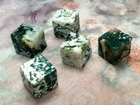 Tree and Green Moss Agate Cube
