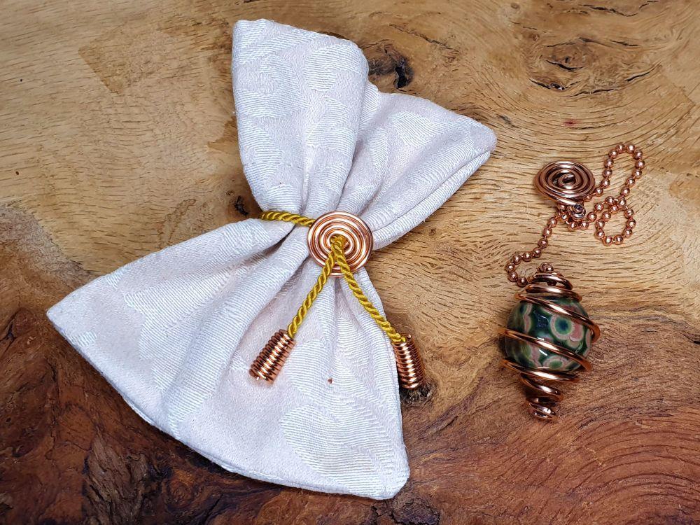 Ocean Jasper and Copper Hand Crafted Pendulum