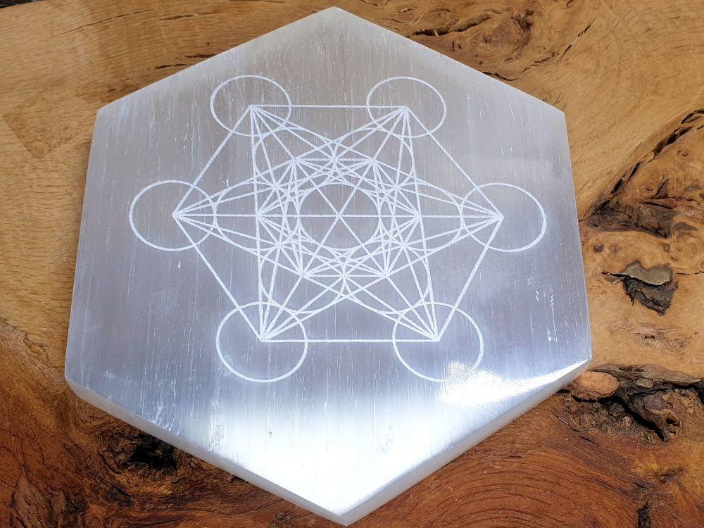 Selenite Hexagon Charging Plate - Metatron Cube