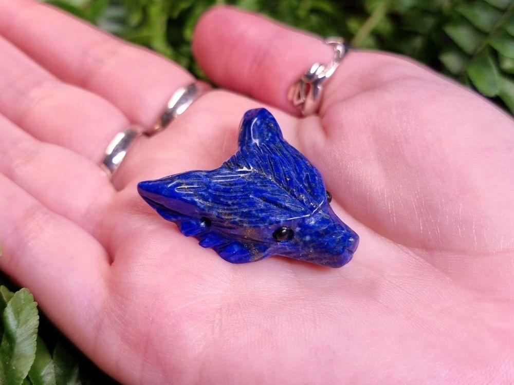 Lapis Lazuli Hand Carved Wolf Head Bead Pendant