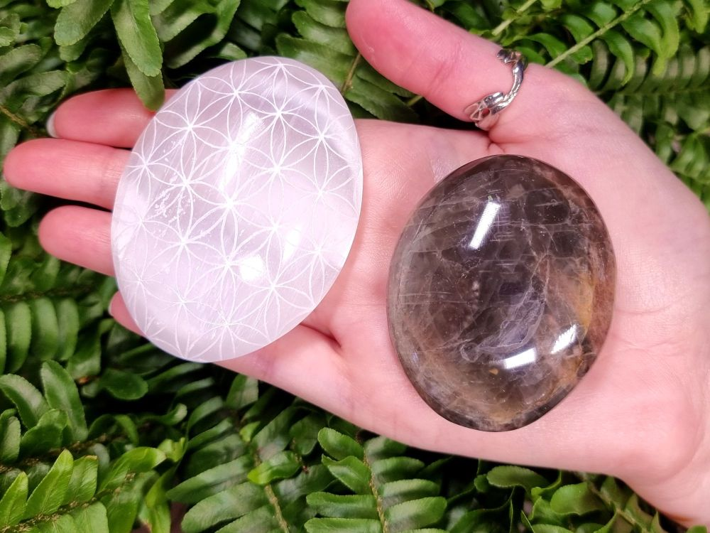 New Moon and Full Moon - Flower Of Life Palm Stone Set