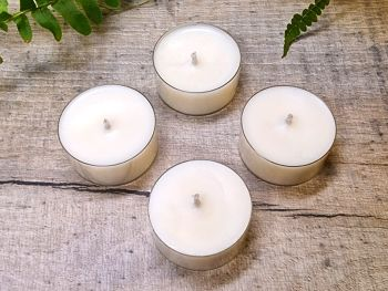 Unscented Organic Soy Wax Tealights - Set of 4