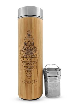 NAMASTE Bamboo & Stainless Steal Hot/Cold Tea, Crystal and Water Infusion Bottle 500ml