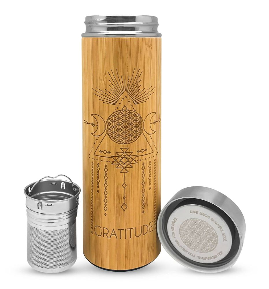GRATITUDE Bamboo & Stainless Steal Hot/Cold Tea, Crystal and Water Infusion