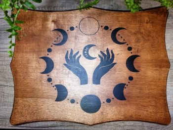Hand Crafted Altar Table/Base Moon Phases with Magickal Hands