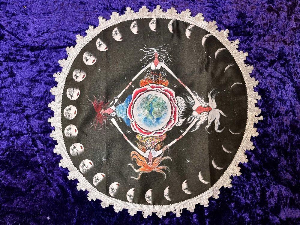 Four Seasons Earth Healing Altar Cloth - 45cm White Trim