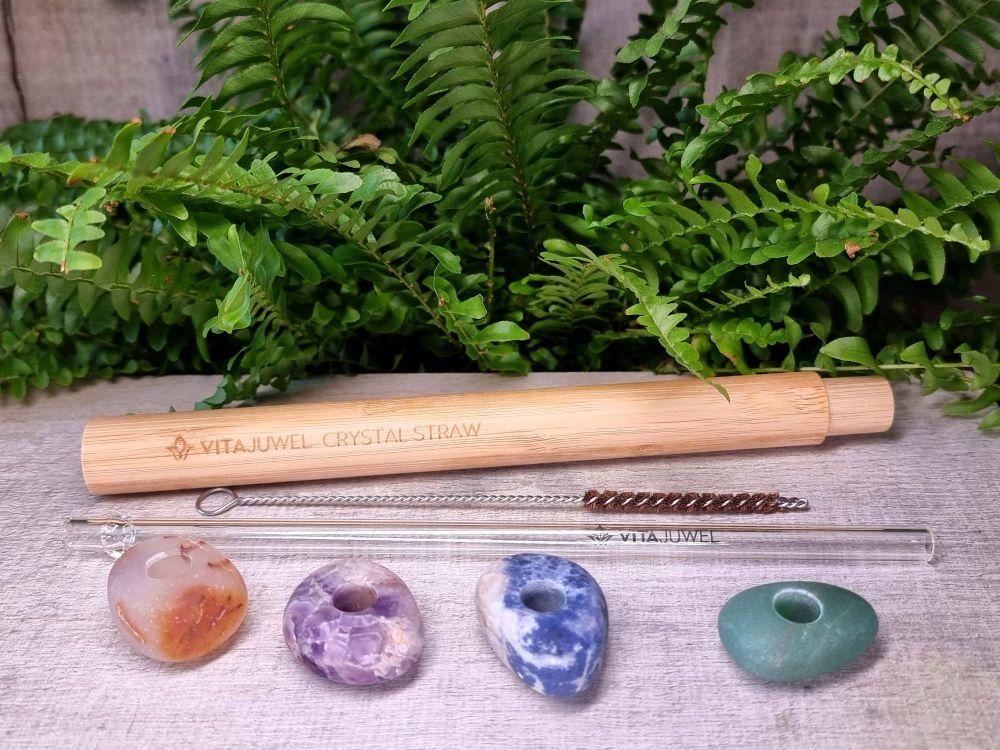 Glass Crystal Straw - Amethyst, Aventurine, Carnelian, and Sodalite