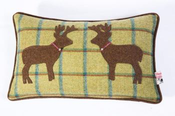 Country Green - Kissing Stags Cushion