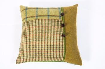 Country Green - Square Button Cushion