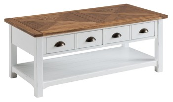 Catrine Elm & Painted Coffee Table with Drawres