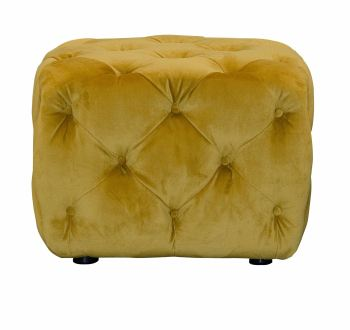 Button Footstool Small Yellow Velvet